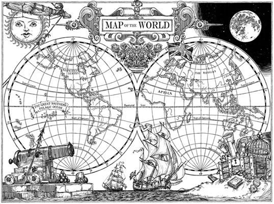 Duddlebug - Old world map black and white